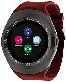 iTOUCH Unisex Curve Red Silicone Strap Touchscreen Smart Watch 44mm