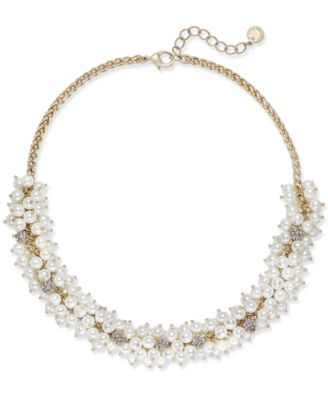 Image of Charter Club Gold-Tone Pavé & Imitation Pearl Collar Necklace, Created for Macy's