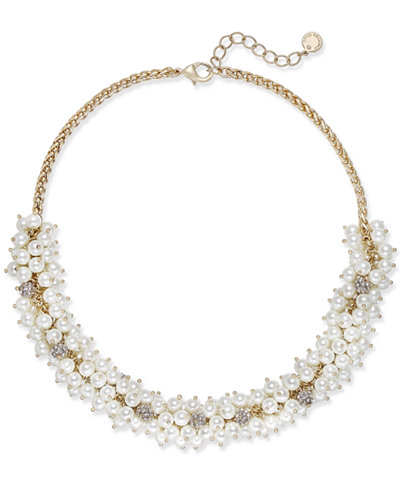 Charter Club Gold-Tone Pavé & Imitation Pearl Collar Necklace, Created for Macy's