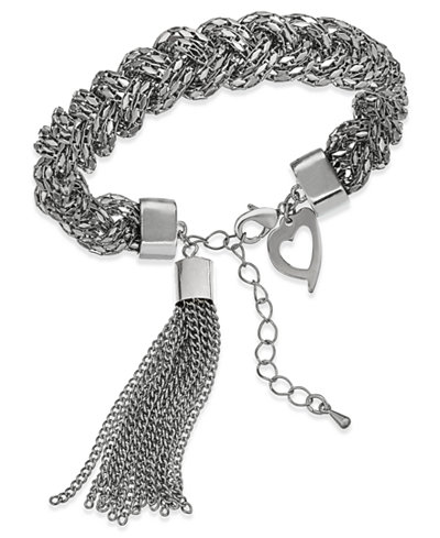 Thalia Sodi Silver-Tone Rope and Tassel Link Bracelet, Created for Macy's