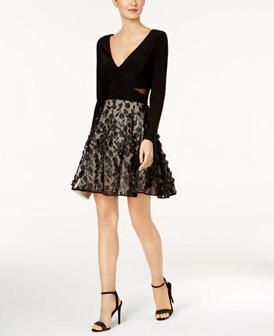Xscape Illusion-Inset Floral Fit & Flare Dress