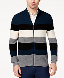 Michael Kors Men's Colorblocked Stripe Full-Zip Sweater