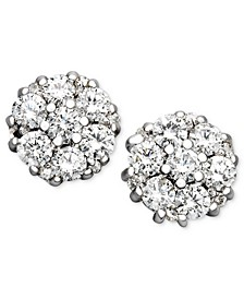 Diamond Flower Cluster Stud Earrings in 14k White Gold (1/2 ct. t.w.)