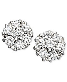 Diamond Flower Cluster Stud Earrings in 14k White Gold (1/2 ct. t.w.)