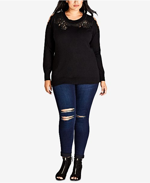 Trendy Plus Size Cold-Shoulder Illusion Sweater