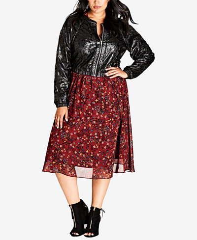 City Chic Trendy Plus Size Faux-Leather Lace Cropped Bomber Jacket