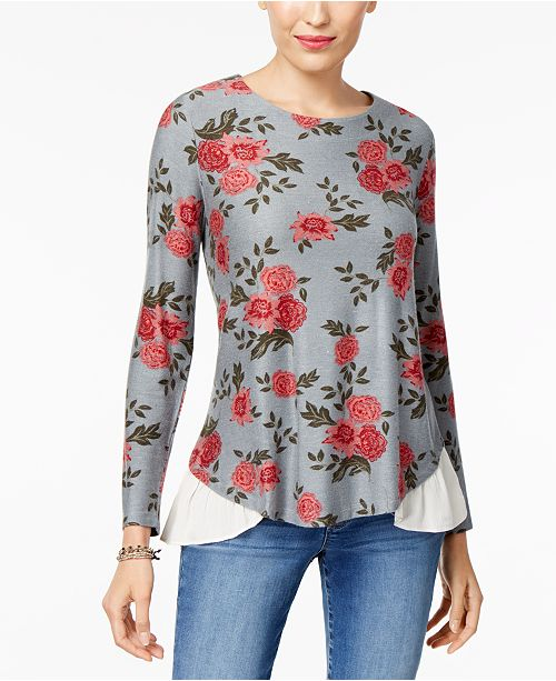 Style & Co Petite Printed Layered-Look Top, Created for Macy's