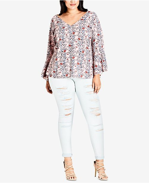 City Chic Trendy Plus Size Printed Blouse