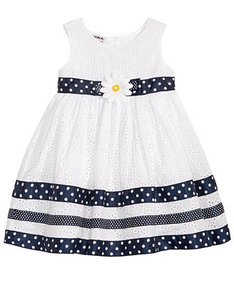 Blueberi Boulevard Dots & Eyelet Dress, Baby Girls