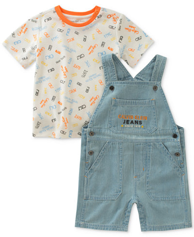 Calvin Klein 2-Pc. Printed T-Shirt & Overall Set, Baby Boys