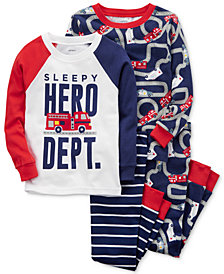 Carter's 4-Pc. Sleepy Hero Dept. Cotton Pajama Set, Baby Boys