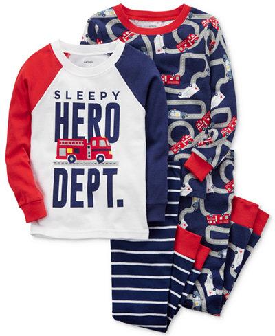 Carter's 4-Pc. Sleepy Hero Dept. Cotton Pajama Set, Baby Boys