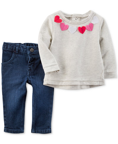 Carter's 2-Pc. Top & Jeans Set, Baby Girls