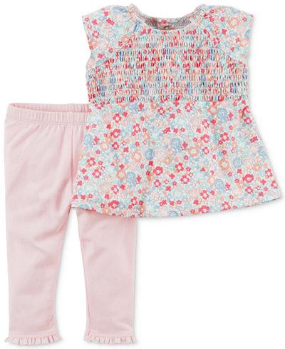 Carter's 2-Pc. Smocked Floral-Print Top & Leggings Set, Baby Girls