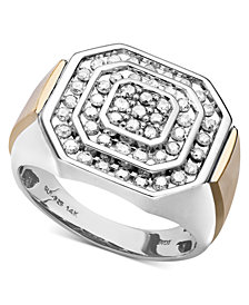 Men's Diamond Ring in 14k Gold and Sterling Silver (1 ct. t.w.)
