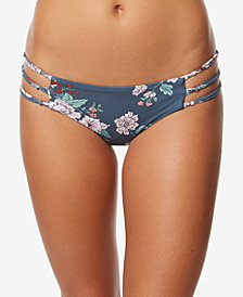 O'Neill Juniors' James Floral-Print Macramé-Side Cheeky Bikini Bottoms