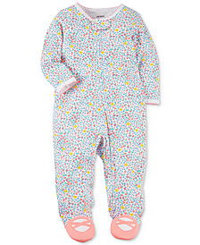 Carter's Baby Girls Floral-Print Cotton Footed Coverall