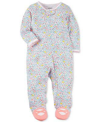 Carter's Floral-Print Cotton Footed Coverall, Baby Girls