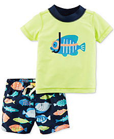 Carter's 2-Pc. Fish Rash Guard & Swim Trunks Set, Baby Boys