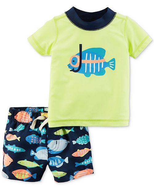 bf67124d30 ... Baby Boys; Carter's 2-Pc. Fish Rash Guard & Swim Trunks Set, ...
