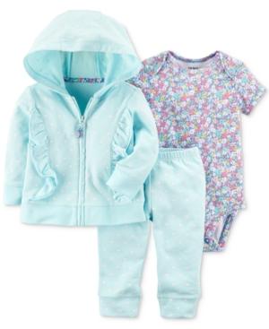 Carters 3Pc Cotton HeartPrint Hoodie FloralPrint Bodysuit  Pants Set Baby Girls (024 months)