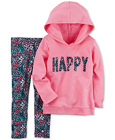 Carter's 2-Pc. Happy Hoodie & Floral-Print Leggings Set, Baby Girls