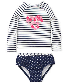 Little Me 2-Pc. Striped & Dot-Print Rash Guard Swimsuit, Baby Girls