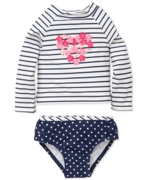 Little Me 2Pc Striped  DotPrint Rash Guard Swimsuit Baby Girls (024 months)