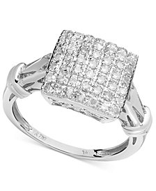 Diamond Square Ring in Sterling Silver (1/2 ct. t.w.)