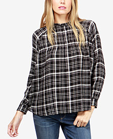 Lucky Brand Plaid Blouson Top