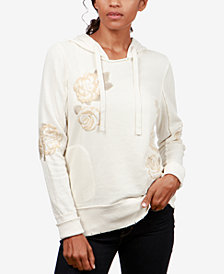 Lucky Brand Cotton Floral-Embroidered Hoodie