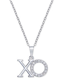 Diamond XO Pendant Necklace (1/10 ct. t.w.) in Sterling Silver
