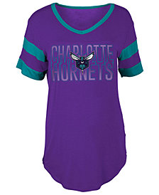 5th & Ocean Women's Charlotte Hornets Hang Time Glitter T-Shirt