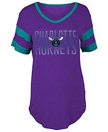 5th & Ocean Women's Charlotte Hornets Hang Time Glitter T-Shirt