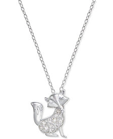 Diamond Fox Pendant Necklace (1/10 ct. t.w.) in Sterling Silver