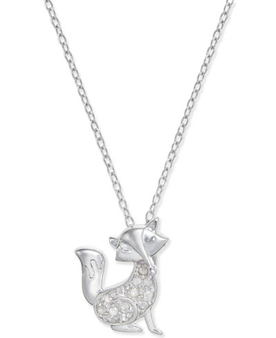 Diamond Fox Pendant Necklace (1/10 ct. t.w.) in Sterling Silver