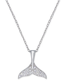 Diamond Whale Tail Pendant Necklace (1/10 ct. t.w.) in Sterling Silver