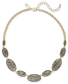 I.N.C. Gold-Tone Pavé Oval Statement Necklace, Created for Macy's