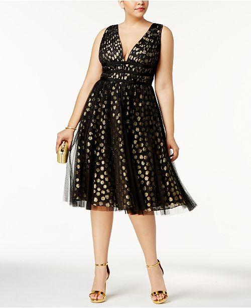 Adrianna Papell Plus Size Metallic-Print Fit & Flare Dress