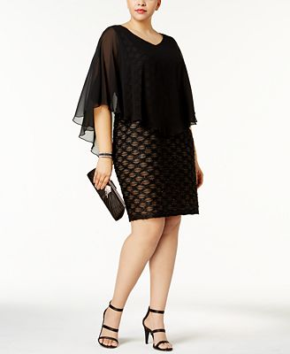 Connected Plus Size Embellished Chiffon-Overlay Dress