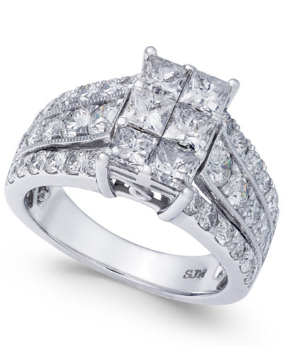 Diamond Princess Cluster Ring (3 ct. t.w.) in 14k White Gold