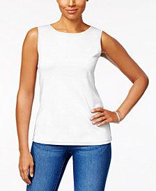 Karen Scott Cotton Sleeveless Crew-Neck Top, Created  for Macy's