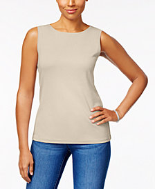 Karen Scott Cotton Sleeveless Crew-Neck Top In Regular & Petite Sizes, Created  for Macy's