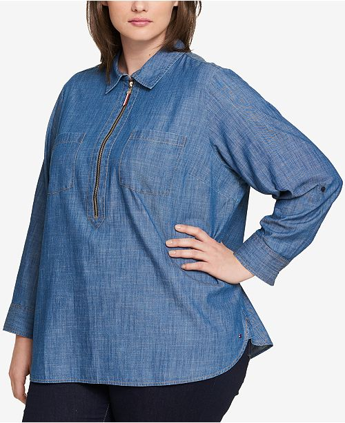 Tommy Hilfiger Plus Size Cotton Chambray Shirt, Created for Macy's