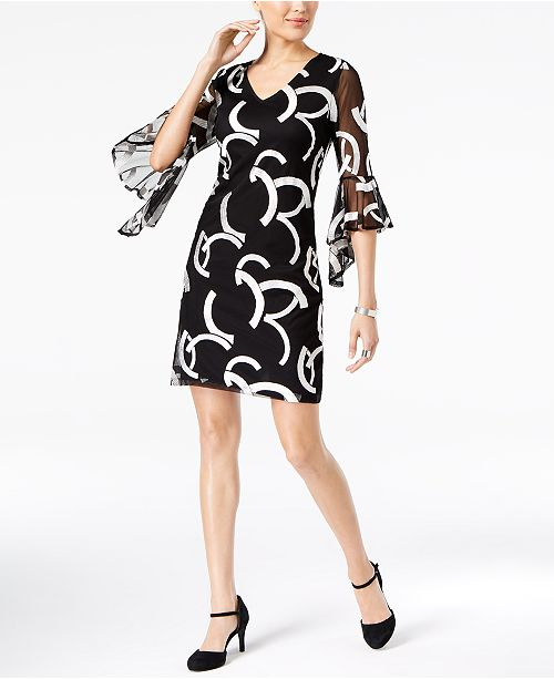 6e57fd96819 Alfani Petite Ruffle-Sleeve Shift Dress