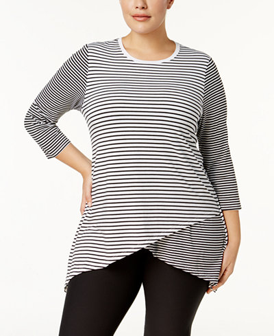 Calvin Klein Performance Plus Size Striped Crossover Tunic