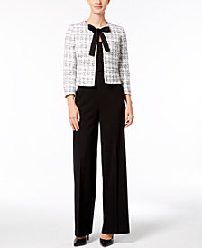 Nine West Tie-Front Jacket & Wide-Leg Pants