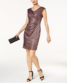 Connected Petite Metallic A-Line Dress