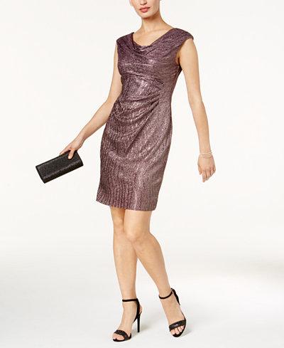 Connected Petite Metallic A-Line Dress