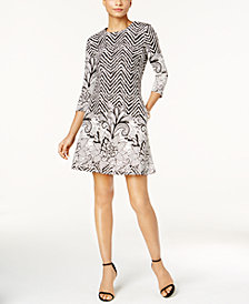 MSK Floral-Border Geometric-Print Dress